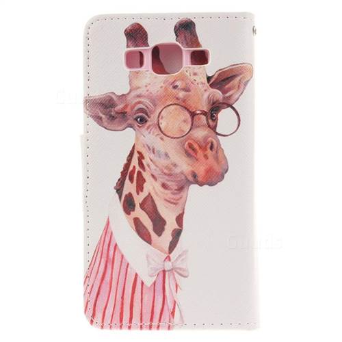 Pink Giraffe PU Leather Wallet Case for Samsung Galaxy A5 2015 A500