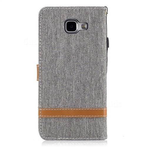 Jeans Cowboy Denim Leather Wallet Case for Samsung Galaxy A5 2016 A510 - Gray