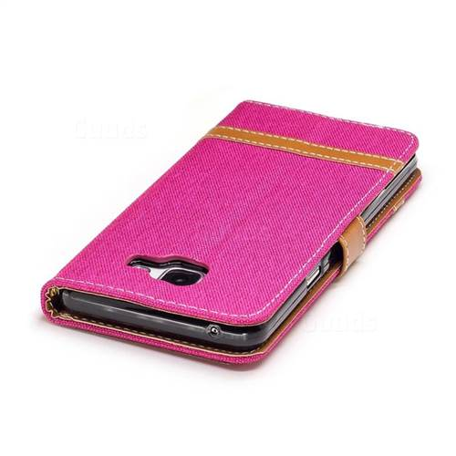 Jeans Cowboy Denim Leather Wallet Case for Samsung Galaxy A5 2016 A510 - Rose