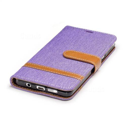 Jeans Cowboy Denim Leather Wallet Case for Samsung Galaxy A5 2016 A510 - Purple