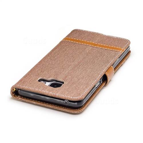 Jeans Cowboy Denim Leather Wallet Case for Samsung Galaxy A5 2016 A510 - Brown