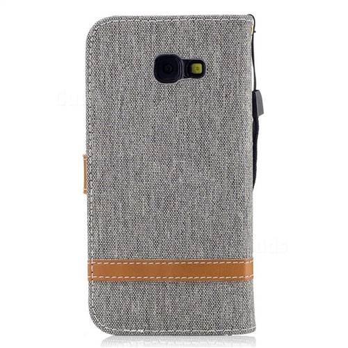 Jeans Cowboy Denim Leather Wallet Case for Samsung Galaxy A5 2017 A520 - Gray