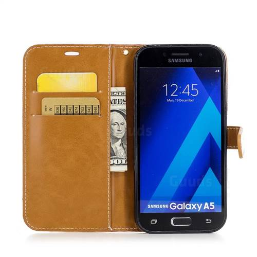 Jeans Cowboy Denim Leather Wallet Case for Samsung Galaxy A5 2017 A520 - Red