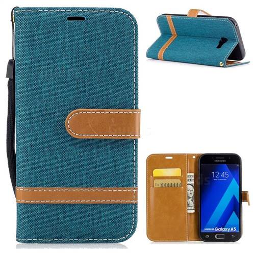 Jeans Cowboy Denim Leather Wallet Case for Samsung Galaxy A5 2017 A520 - Green