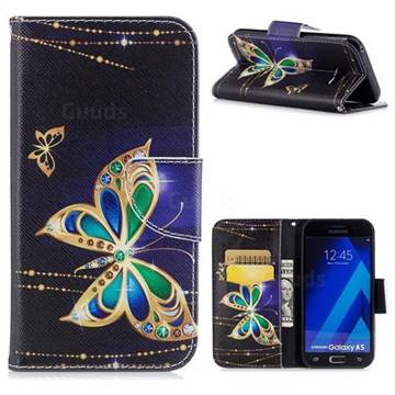 Golden Shining Butterfly Leather Wallet Case for Samsung Galaxy A5 2017 A520