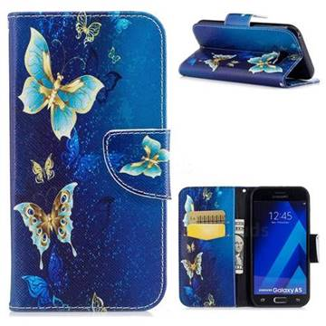 Yellow Flower Butterfly Leather Wallet Case for Samsung Galaxy A5 2017 A520
