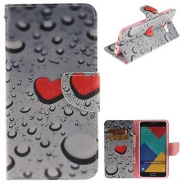 Heart Raindrop PU Leather Wallet Case for Samsung Galaxy A7 2016 A710
