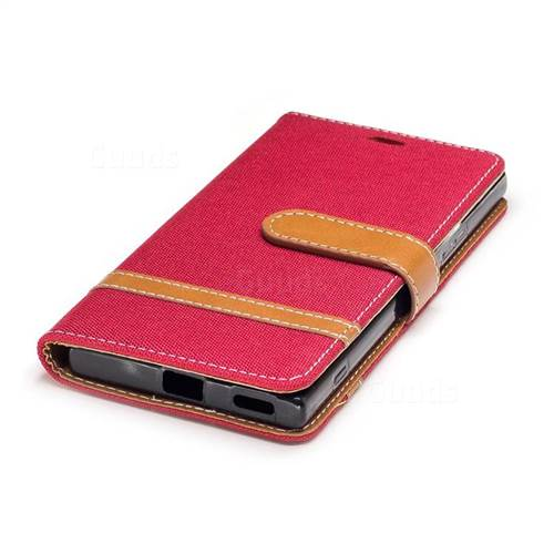 Jeans Cowboy Denim Leather Wallet Case for Sony Xperia XA1 - Red