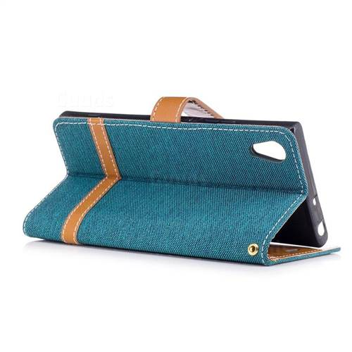 Jeans Cowboy Denim Leather Wallet Case for Sony Xperia XA1 - Green