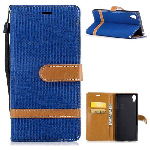 Jeans Cowboy Denim Leather Wallet Case for Sony Xperia XA1 - Sapphire