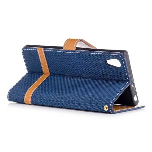 Jeans Cowboy Denim Leather Wallet Case for Sony Xperia XA1 - Dark Blue
