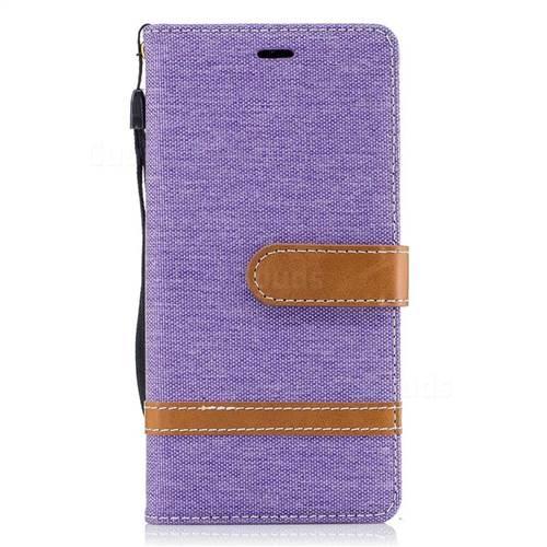 Jeans Cowboy Denim Leather Wallet Case for Sony Xperia XA1 - Purple