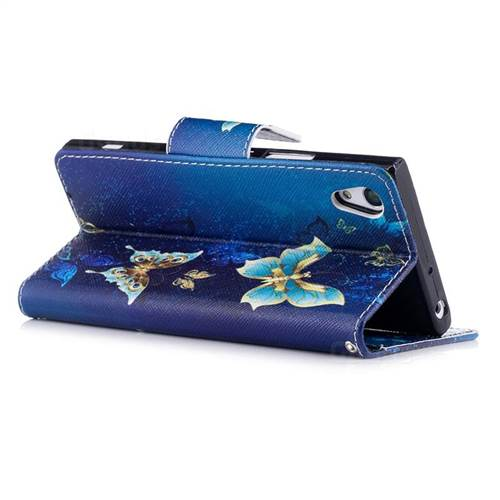 Golden Butterflies Leather Wallet Case for Sony Xperia XA1