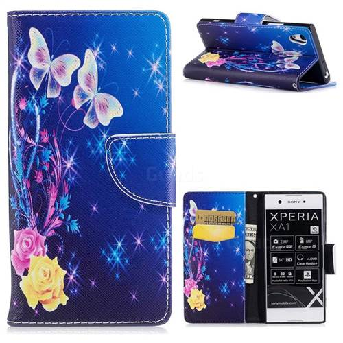 Yellow Flower Butterfly Leather Wallet Case for Sony Xperia XA1