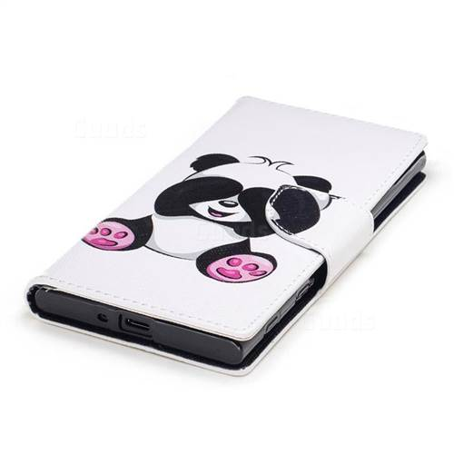 Lovely Panda Leather Wallet Case for Sony Xperia XZ