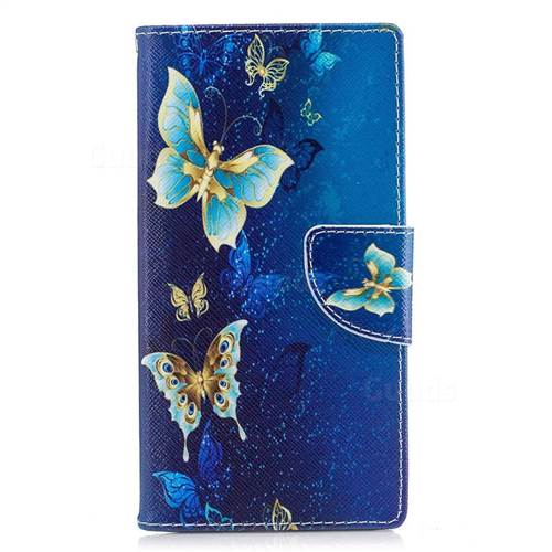 Golden Butterflies Leather Wallet Case for Sony Xperia XZ