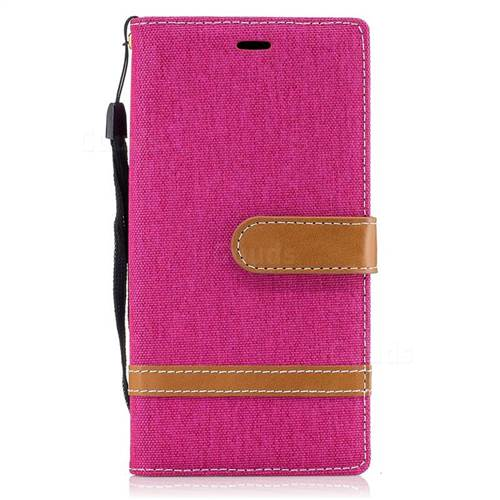 Jeans Cowboy Denim Leather Wallet Case for Sony Xperia XZs - Rose