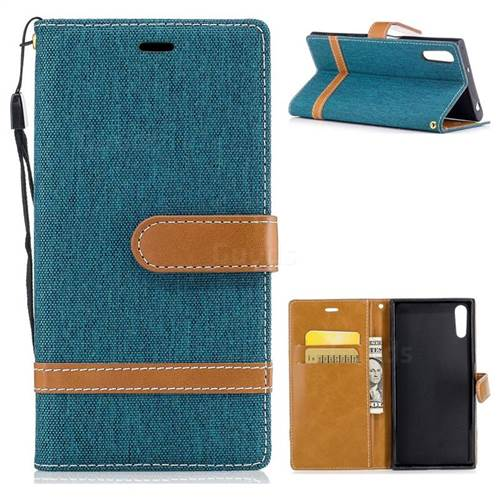 Jeans Cowboy Denim Leather Wallet Case for Sony Xperia XZs - Green
