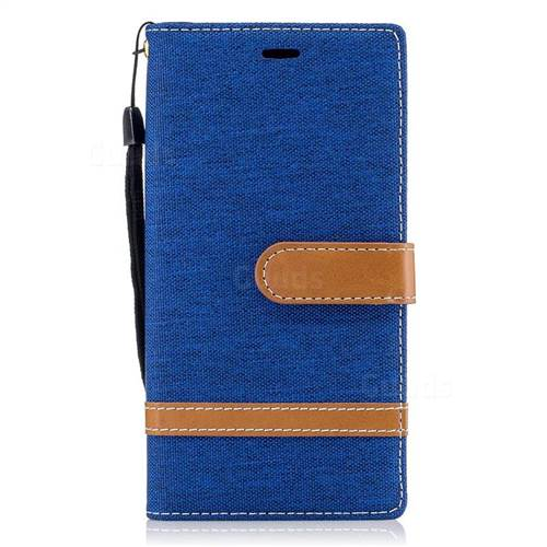 Jeans Cowboy Denim Leather Wallet Case for Sony Xperia XZs - Sapphire