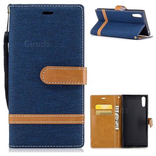 Jeans Cowboy Denim Leather Wallet Case for Sony Xperia XZs - Dark Blue