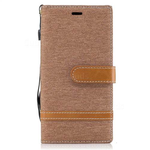 Jeans Cowboy Denim Leather Wallet Case for Sony Xperia XZs - Brown