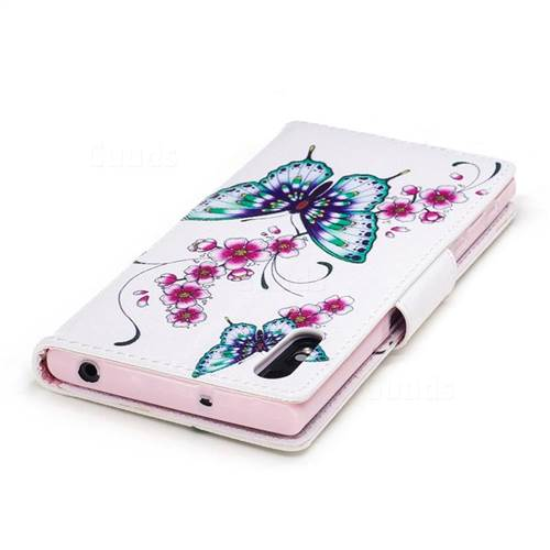 Peach Butterfly Leather Wallet Case for Sony Xperia XZs