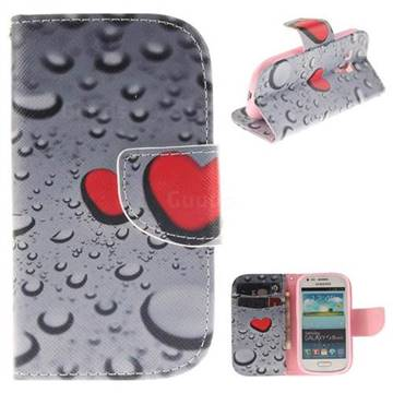 Heart Raindrop PU Leather Wallet Case for Samsung Galaxy S3 Mini i8190