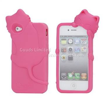 Cute 3d cat silicone case for iphone 4 iphone 4s rose for Case 3d online
