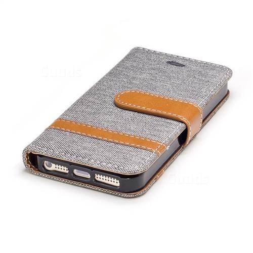 Jeans Cowboy Denim Leather Wallet Case for iPhone SE 5s 5 - Gray
