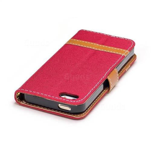 Jeans Cowboy Denim Leather Wallet Case for iPhone SE 5s 5 - Red
