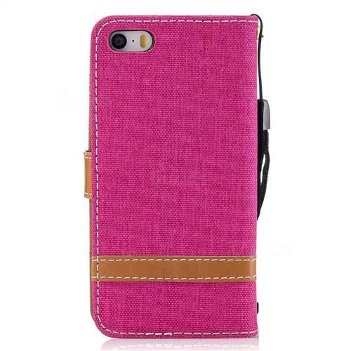 Jeans Cowboy Denim Leather Wallet Case for iPhone SE 5s 5 - Rose