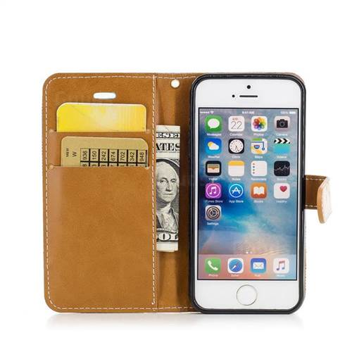 Jeans Cowboy Denim Leather Wallet Case for iPhone SE 5s 5 - Green