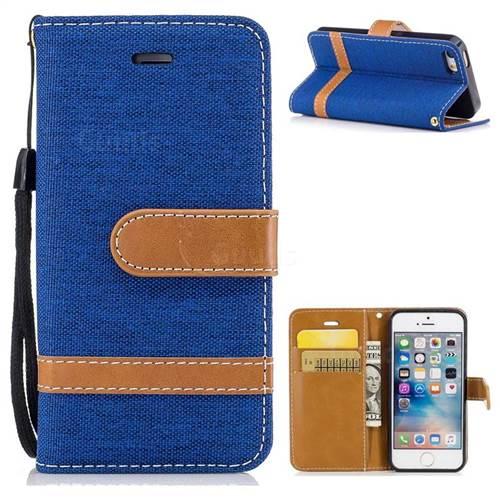 Jeans Cowboy Denim Leather Wallet Case for iPhone SE 5s 5 - Sapphire