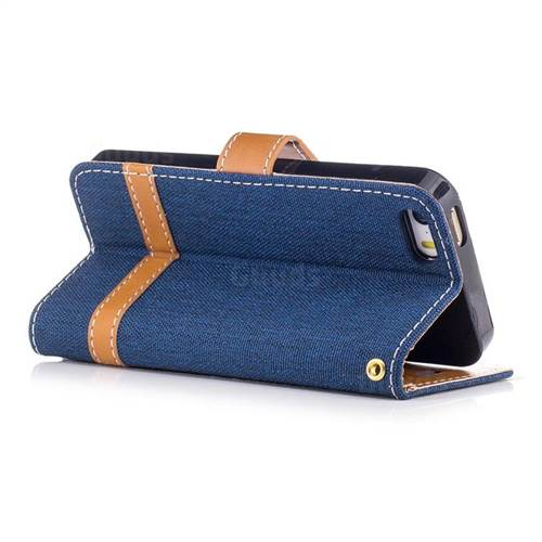 Jeans Cowboy Denim Leather Wallet Case for iPhone SE 5s 5 - Dark Blue
