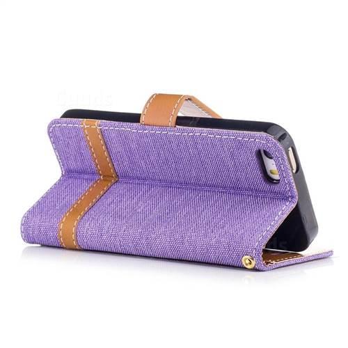 Jeans Cowboy Denim Leather Wallet Case for iPhone SE 5s 5 - Purple
