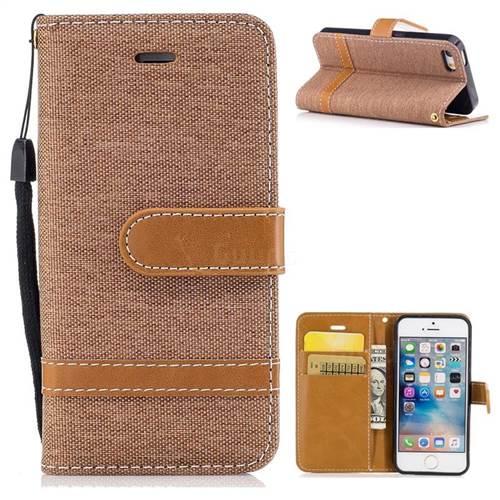 Jeans Cowboy Denim Leather Wallet Case for iPhone SE 5s 5 - Brown
