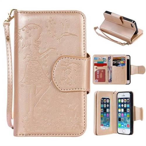 iphone 5s gold case for girls. embossing cat girl 9 card leather wallet case for iphone se 5s 5 - gold iphone girls
