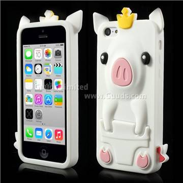 iphone 5c silicone case crown pig soft silicone for iphone 5c white 14701