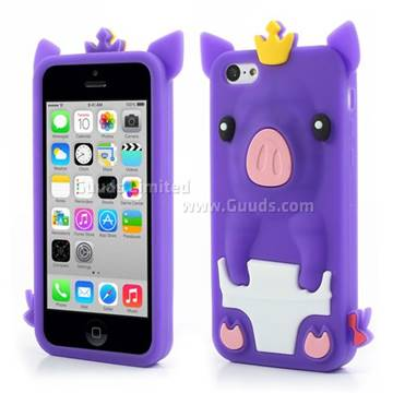 cute cases for iphone 5c crown pig soft silicone for iphone 5c purple 16848