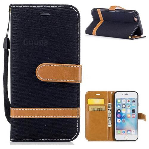 Jeans Cowboy Denim Leather Wallet Case for iPhone 6s 6 6G(4.7 inch) - Black