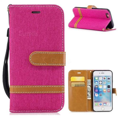 Jeans Cowboy Denim Leather Wallet Case for iPhone 6s 6 6G(4.7 inch) - Rose