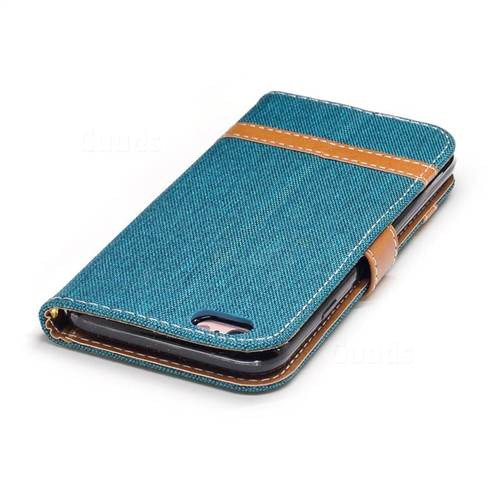Jeans Cowboy Denim Leather Wallet Case for iPhone 6s 6 6G(4.7 inch) - Green