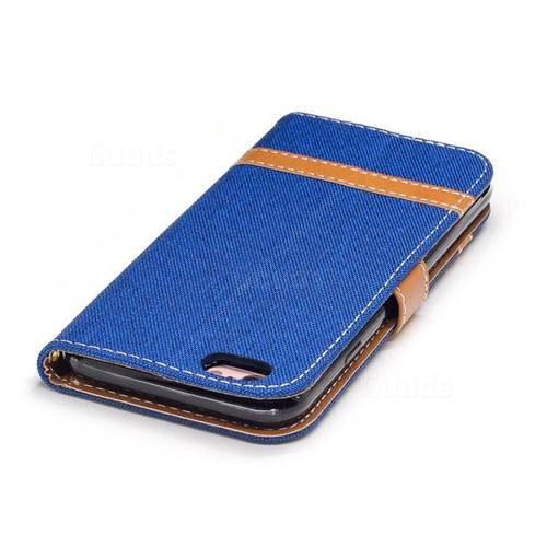 Jeans Cowboy Denim Leather Wallet Case for iPhone 6s 6 6G(4.7 inch) - Sapphire