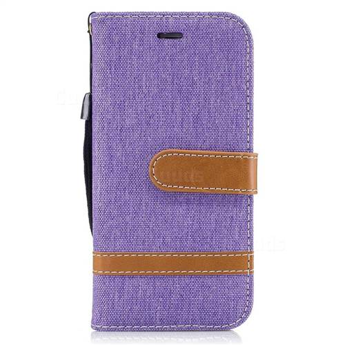 Jeans Cowboy Denim Leather Wallet Case for iPhone 6s 6 6G(4.7 inch) - Purple