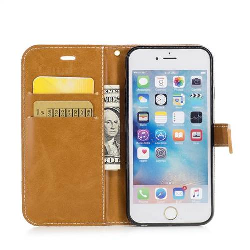Jeans Cowboy Denim Leather Wallet Case for iPhone 6s 6 6G(4.7 inch) - Brown
