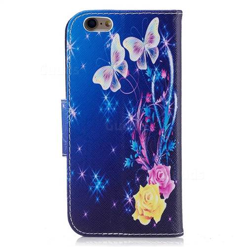 Yellow Flower Butterfly Leather Wallet Case for iPhone 6s 6 6G(4.7 inch)