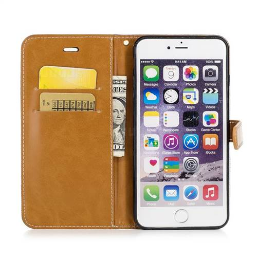 Jeans Cowboy Denim Leather Wallet Case for iPhone 6s Plus / 6 Plus 6P(5.5 inch) - Black