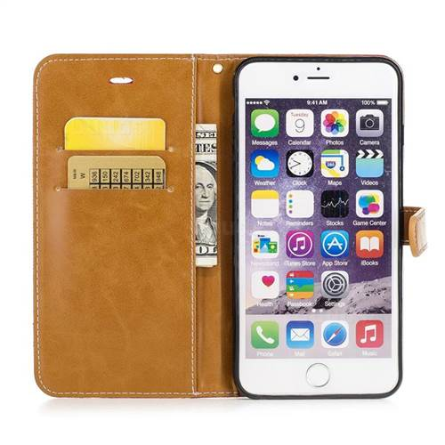 Jeans Cowboy Denim Leather Wallet Case for iPhone 6s Plus / 6 Plus 6P(5.5 inch) - Red