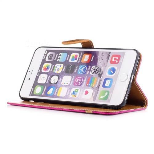 Jeans Cowboy Denim Leather Wallet Case for iPhone 6s Plus / 6 Plus 6P(5.5 inch) - Rose