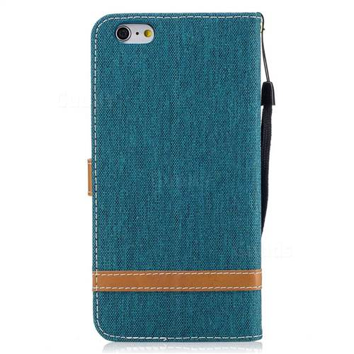 Jeans Cowboy Denim Leather Wallet Case for iPhone 6s Plus / 6 Plus 6P(5.5 inch) - Green